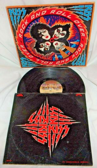 """Kiss """" Rock And Roll Over """" 1976 Vinyl Lp Record Album W/ Cover And Sleeve &"""