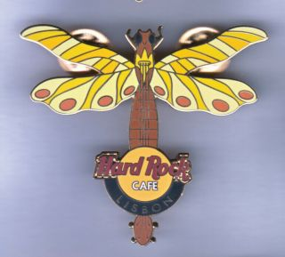Hard Rock Cafe Pin: Lisbon Dragonfly In Yellows & Orange Le250