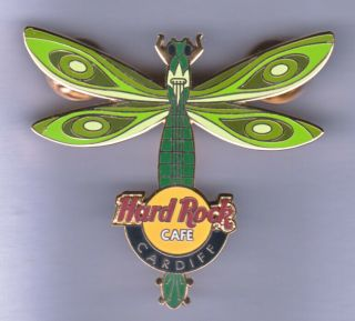 Hard Rock Cafe Pin: Cardiff Dragonfly In Greens Le250