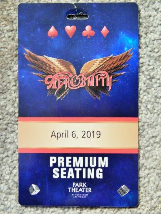 Aerosmith Premium Seating 3 - D Credential April 6 2019 Park Theater Las Vegas