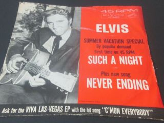 Vintage Elvis Rca Record Such A Night Never Ending Advertising Viva Las Vegas 45