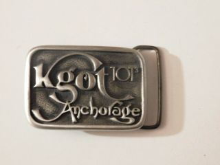 Kgot 101.  9 Radio Station Belt Buckle,  Anchorage Alaska