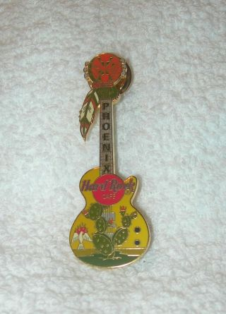 Hard Rock Cafe Phoenix Guitar With Cactus And Feather Pin