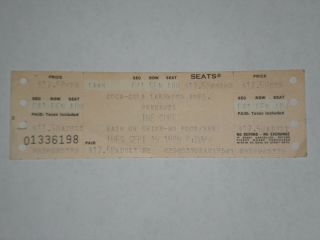 "The Cure Concert Ticket Stub - 1989 - Prayer Tour - "" Friday I"