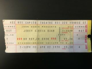 Jerry Garcia Band Ticket Stub Capitol Theater Port Chester Ny April 2 1976 Rare