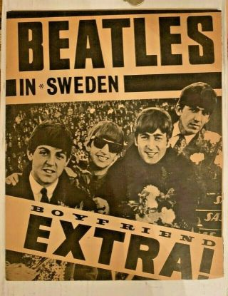 Vintage Beatles In Sweden.  Newspaper Section - Approx 16 Pages Rare