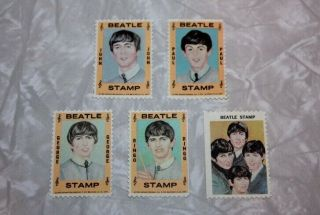 1964 Extremely Limited Neca Beatles Stamps 5 Stamp Set W/coa