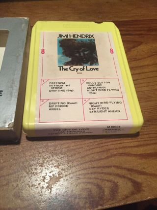Jimi Hendrix/ The Cry Of Love With Sleeve 8 Track Tape