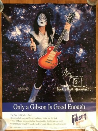 Ace Frehley - Gibson Guitar Promo Poster - Kiss - Les Paul Double Sided
