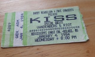 Kiss Lick It Up Concert Ticket,  January 4,  1984 Mississippi Coast Coliseum