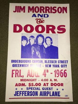 "Jim Morrison & The Doors Concert Poster - 1966 W/ Jefferson Airplane - 14 "" X22 """
