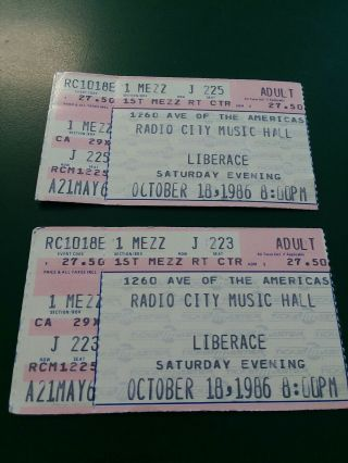 2 Liberace Concert Ticket Stubs October 18,  1986 Radio City Music Hall