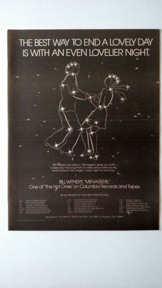 Bill Withers.  Tour Dates 1978 Promo Poster Ad