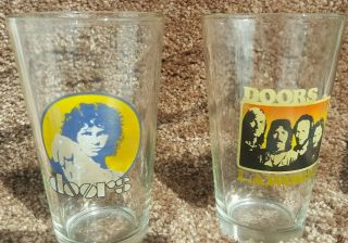 Jim Morrison / The Doors Set Of 2 Vintage Drinking Glasses Musical Collectibles