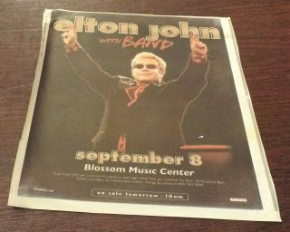 "Elton John10 - 1/2 "" By 11 "" Newsprint Concert Ad Blossom Music Center 9/08/2011"