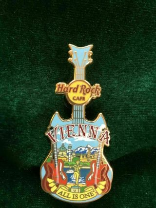 Hard Rock Cafe Pin Vienna City Tee Guitar Mountain & Danube View W 2 Red Guitars
