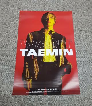 K - Pop Shinee Taemin 2nd Mini Album [want] Red Ver.  Official Poster - -