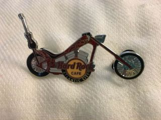 Hard Rock Cafe Pin Atlantic City Red Chopper W Flames On Gas Tank Guitar On Seat