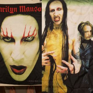 Marilyn Manson Fabric Posters Tapestry 2001 2 Posters Industrial Italy Made