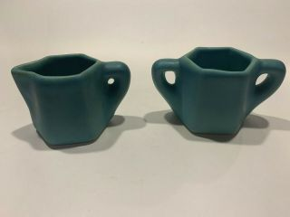 Early Van Briggle Cream And Sugar Set - Blue - Ca.  1910 - 1920 - Numbered Molds
