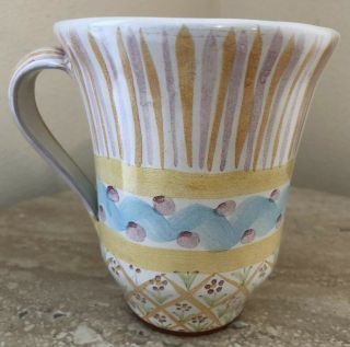 Retired Vintage Mackenzie Childs Pottery Coffee Cup Mug Pastel Colors 1989