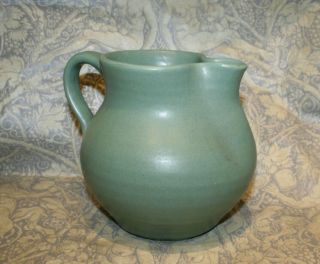 Antique Zanesville Stoneware Pottery Pitcher Green Matte Arts & Crafts 1920