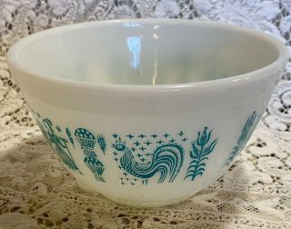 Vintage Pyrex Mixing Bowl Turquoise On White Amish Butterprint 1 1/2 Pint 401