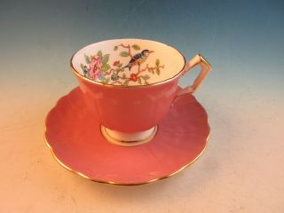 Aynsley Bone China Footed Cup & Saucer Pink Bird & Flowers On Branch 2902