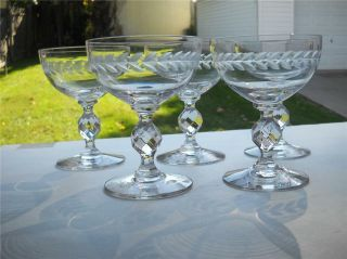 """Five Bohemian Etched Champagne Stems Standing 4 - 5/8 """" Tall - Hold 6 Oz.  Each,  Ec"""