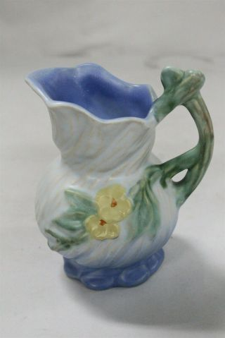 Arts Crafts Weller Twisted Flowers Branch Handled Art Pottery Pitcher