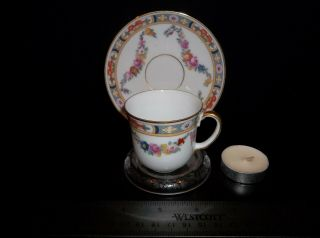 """Porcelain Floral Tea Cup And Saucer """" Epiag """" With Stand One Set"""