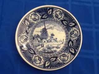 "Blue Delft,  Holland,  9 1/4 "" Decorative Plate Of Windmill."