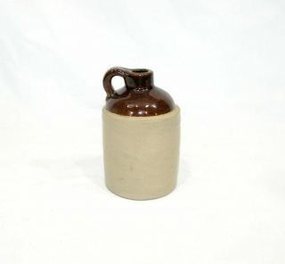 """Vintage Little Brown Pottery Jug Only 4 5/8 """" Tall Marked Usa"""